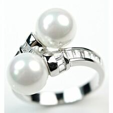 Two Pearls in 925 Sterling Silver Ring W White CZ Accents 6mm Round Pearl