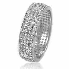 Wide Micro Pave Sterling Silver Pave CZ Eternity Band White Cubic Zirconia