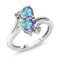 1.93 Ct Heart Shape Mercury Mist Mystic Topaz 14K White Gold Ring