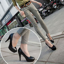 Womens Patent Leather Round Toe Stiletto High Heels Platform Pumps Working Shoes