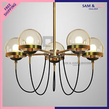 New BRASS ROUND Chandelier Ceiling Fixture BISTRO GLOBE Clear GLASS LED Gold