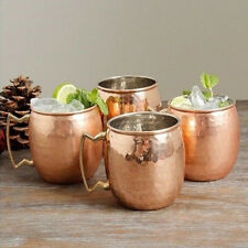 1pcs Pure Handmade Moscow Mule Hammered Copper Mug Glass Cup Brass Handle 16 OZ