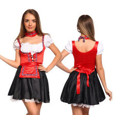German Beer Maid Peasant Dress+Necklace+Apron Holloween Performance Costume