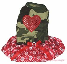 Valentine Heart Camouflage Top Xmas Red Snowflake Skirt Pet Dog Puppy Cat Dress
