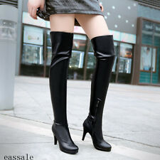 Womens Pretty Cuffed Slim High Heels Platform Casual Zipper Over the Knee Boots