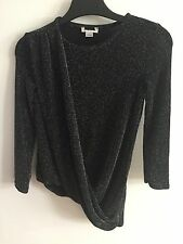 NEW EX RIVER ISLAND SPARKLY LONG SLEEVE DRAPE TOP GIRLS AGES 3 TO 12 YEARS OLD