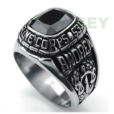 Stainless Steel Marine Corps Ring Military USMC United States US Veteran Cz Onyx