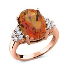4.40 Ct Orange Mystic Quartz Created Sapphire 18K Rose Gold Plated Silver Ring