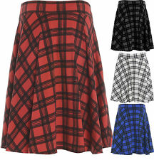 New Womens Plus Size Tartan Check Print Elastic Ladies Short Skater Skirt 14-28