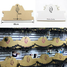10/50Pcs White Kraft Paper Necklace Jewelry Display Packaging Hanging Cards