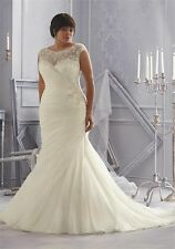 Sexy White/Ivory Plus Size Wedding Dress Gown Custom Size 16 18 20 22 24 26 28+