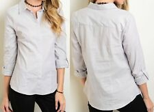 New Structured Button Down Shirt Roll-Tab Seam Point Collar Style Fashion Blouse