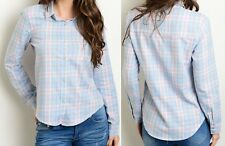 Pink Blue Plaid Button Up Shirt Seamed Pointed Collar Cotton Chic Fashion Blouse