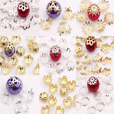 Silver/Gold Plated Metal Flower Spacer Bead Caps Jewelry Finding 8/9/10/14/16mm