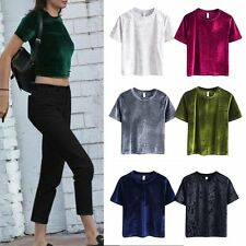 Womens Sexy Vintage Short Sleeve Crew Neck Crop Tops Casual Blouse Basic T-Shirt