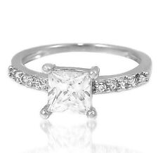 princess cut cubic zirconia sterling silver engagement wedding CZ ring