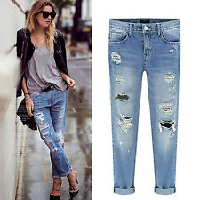Sexy Womens Destroyed Knee Ripped Distressed Slim Pants Boyfriend Jeans Trousers