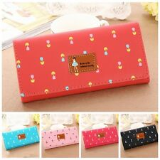 Women Lady's PU Faux Leather Beauty Girl Flower Envelope Clutch Bag Wallet Purse