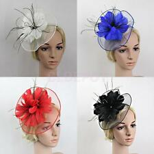 Big Flower Feather Fascinator Mesh Headband Wedding Races Parties Church Hat