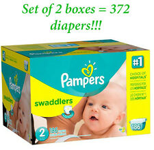 Pampers Swaddlers Diapers Size 2 (Set Of 2 Boxes = 372 diapers)