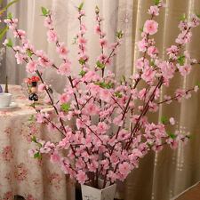 "50"" Artificial Cherry Spring Plum Peach Blossom Branch Silk Flower Home Decor#W"