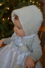 White Fluffy Fur Hat with PomPom ties for Toddlers and Girls