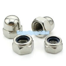 "2-50Pcs 201SS Hex Nyloc/Nylon Insert Locking Cap Dome Nuts 1/4"" 1/2"""