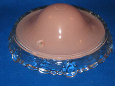 Vintage ~ 1940's Round Pink /Glass Ceiling Light Shade With Scalloped Edge