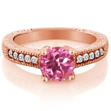 Pink Mystic Topaz and White Created Sapphire 18K Rose Gold Plated Silver Ring
