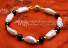 SALE 12-15mm Baroque White Natural FW pearl and Black Agate 7.5'' Bracelet-br333