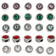 5X Silver Plated Metal Crystal Round 5mm Hole Charms for Bracelet European Beads