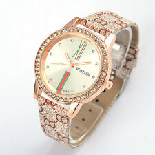 WoMaGe Womens Wrist Watch  Gift Round Crystal Dial Gray PU Leather Quartz
