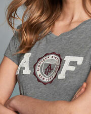 Abercrombie & Fitch T-Shirt Womens Logo Graphic Tee Shirt Top S or M Grey NWT