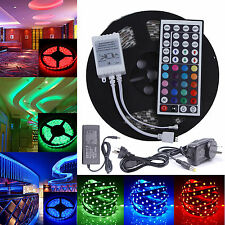 5M 12V SMD 5050 RGB 300LED Strip Light Flexible Xmas + IR Remote+ Power Adapter