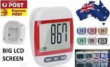 Red Large LCD Waterproof Step Pedometer Sport Calorie Counter Walking Distance