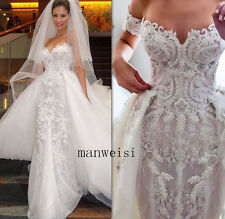 Ivory Lace Appliques Wedding Dresses Mermaid Backless Bridal Gown Beads Custom