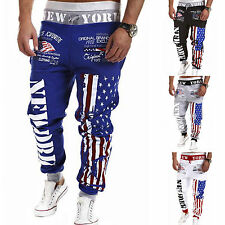 Mens USA Flag Print Sports Sweat Pants Jogging Jogger Trousers Tracksuit Bottoms