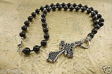 Rosary Necklace Black Onyx & Cross Beads Stainless Steel Hand Made