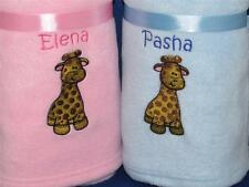 PERSONALISED BABY BLANKET GIRAFFE NEW BABY GIFT CHRISTENING EMBROIDERED NAME
