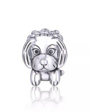 Dog Face Charm - Genuine 925 Sterling Silver -
