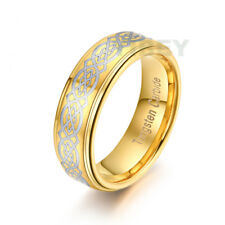 8MM 14k Gold Plated Tungsten Ring Silver Celtic Dragon Mens Jewelry Wedding Band