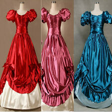 Satin Victorian Goth Ruffles Gown Ball Lolita Dress Outfit Cosplay Costume Adult