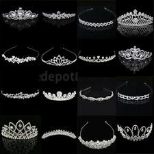 Bridal Princess Crystal Flower Crown Tiara Wedding Headband Hair Comb Silver
