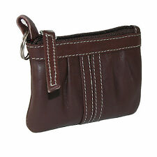 New Paul & Taylor Women's Leather Zippered Compact Coin Purse and Key Ring