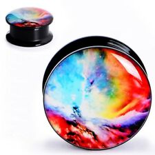 PAIR-ACRYLIC SCREW EAR GAUGE-COLORFUL NIGHTSKY EYELETS-TUNNELS PLUGS-EARSKIN
