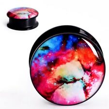 PAIR-ACRYLIC EAR GAUGE-Colorful Starry Night EAR TUNNEL-SCREW PLUGS-EARLETS