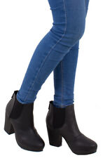 Womens Ladies Black Chunky Block Heel Ankle Elastic Casual Boots Size Uk 3-8