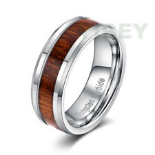 8MM Mens jewelry Tungsten Carbide Wood Inlay Comfort Fit Wedding Band Ring Sizes