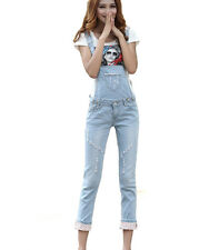 Hot New Women Slim Washed Jeans Strap Denim Jumpsuit Romper Ripped Overall Blue