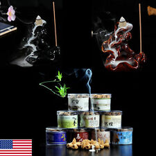 Porcelain Backflow Ceramic Cone Incense Burner Holder Buddhist Cones Smoke